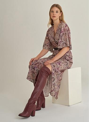 NGSTYLE Şal Desenli Elbise Bej